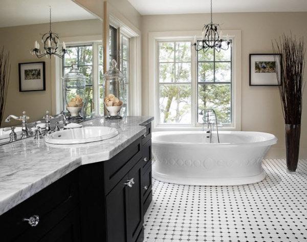 Big Tile Or Little How To Design, Black And White Bathroom Floor Tile Ideas