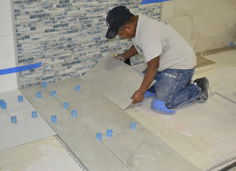 Tile installation is careful work.
